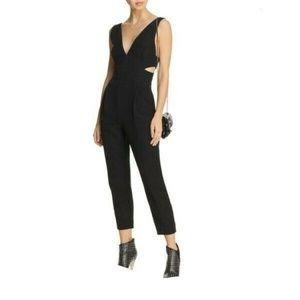 Bardot Cut Out V-Neck Bodycon Jumpsuit Size M 3233